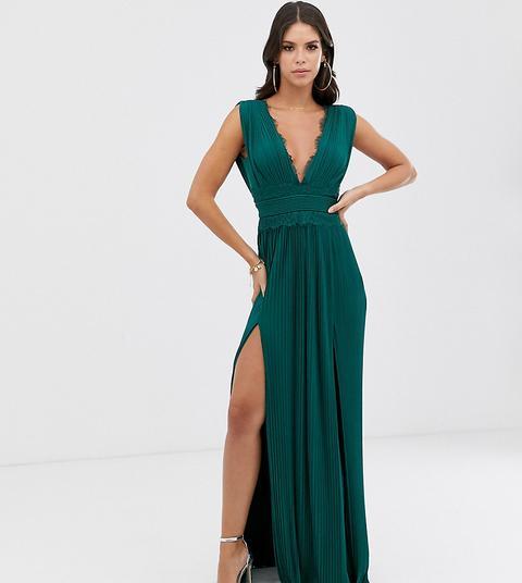 Vestido Largo Plisado Con Aplicación De Encaje De Asos Design Tall Premium-verde de ASOS en 21 Buttons