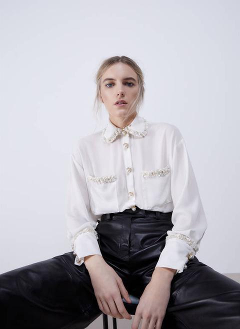 Camisa Detall Tweed de Uterqüe en 21 Buttons