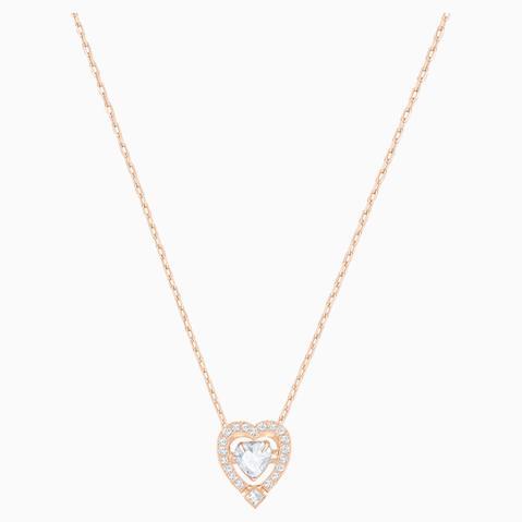 Collar Swarovski Sparkling Dance Heart, Blanco, Baño En Tono Oro Rosa