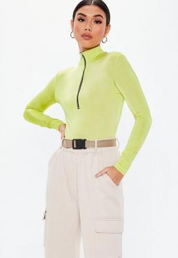 Citron Vert Fluo Vert Citron À Col Haut Et Zip