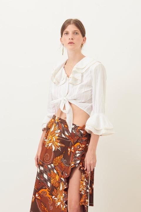 Crop Top Ally Con Lazo - Blanco - Antik Batik de Antik batik en 21 Buttons