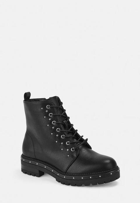 Black Faux Leather Stud Detail Biker Boots, Black