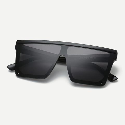 Men Plain Frame Flat Top Sunglasses