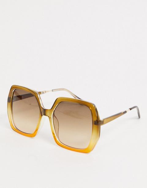 Asos Design - Lunettes De Soleil Carrées Style 70's Avec Monture En Dégradé - Marron