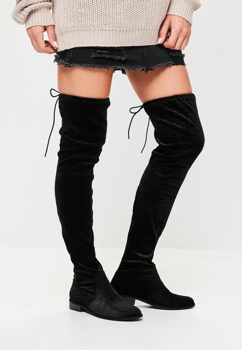 Black Velvet Over The Knee Boots, Black