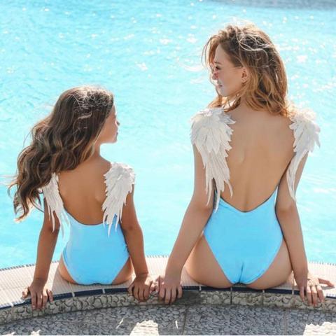Madre e Figlia Costumi da Bagno da Spiaggia Famiglia Costume Intero Ali dAngelo Monokini Estivo Mamma e Figlia Costumi Mare