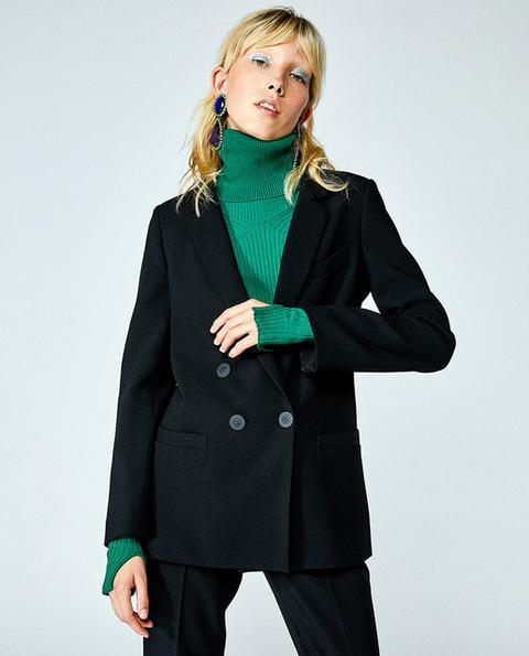mejor amado 7d3fe 0b45c Sfera - Blazer De Mujer Cruzada En Color Negro from Sfera on 21 Buttons