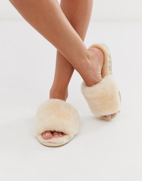 Asos Design Nola Premium Sheepskin Slippers In Beige
