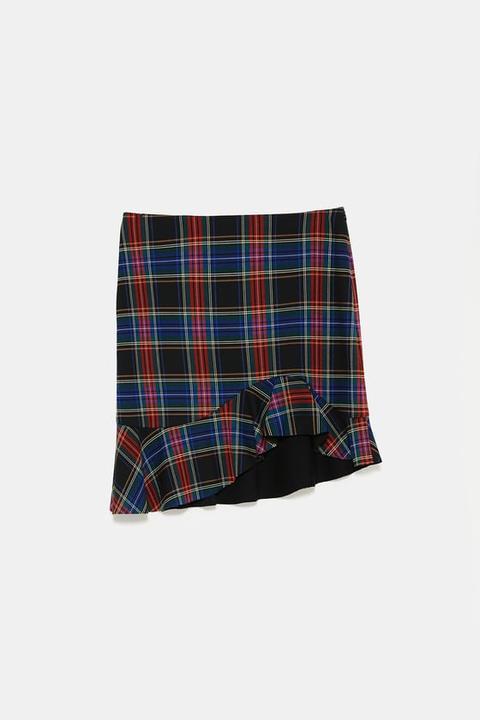 Falda Mini Cuadros Asimétrica
