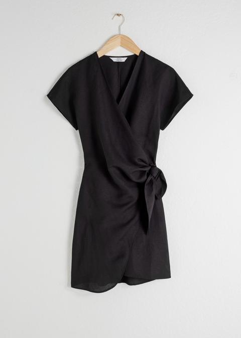 Linen Blend Wrap Mini Dress de And Other Stories en 21 Buttons