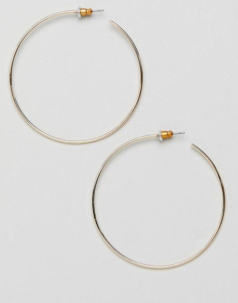 Asos Design Fine Wire 50mm Hoop Earrings In Gold