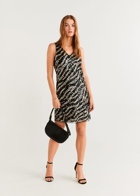 Vestido Lentejuelas Cebra