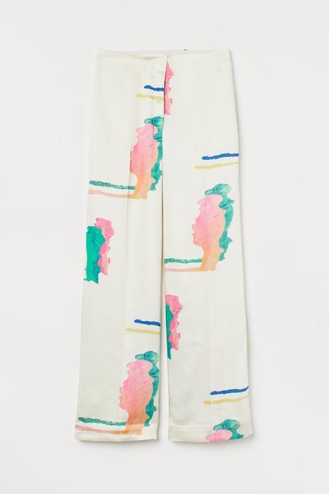 Pantalón Estampado De Satén - Blanco