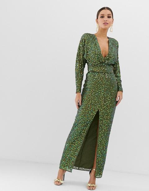 Vestido Largo Con Mangas De Murciélago Y Cintura Cruzada Con Lentejuelas Dispersas De Asos Design-verde de ASOS en 21 Buttons