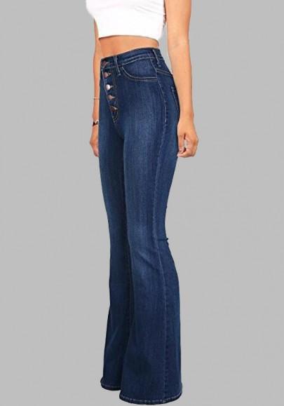 Pantalones Vaqueros Largos Botones Bolsillos Pantalones Acampanados Vendimia Cintura Alta Casuales Azul Oscuro De Cichic En 21 Buttons