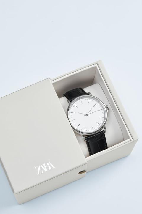 Reloj Minimal Pulsera Piel Grabada Negra