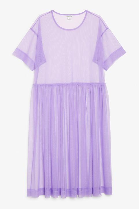 Tulle Midi Dress - Purple