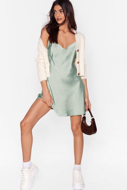 Dressing Gown Nuisette Basique En Satin À Col V - Vert - 32, Vert