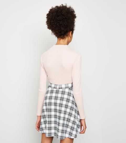Girls White Check Skater Skirt New Look