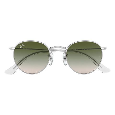 Round Metal Junior Unisex Sunglasses Lentes: Verde, Montura: Plata