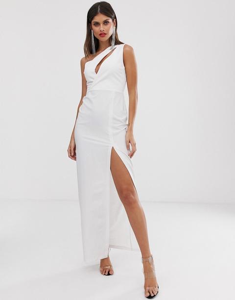Vestido Largo Asimétrico Blanco De Vesper