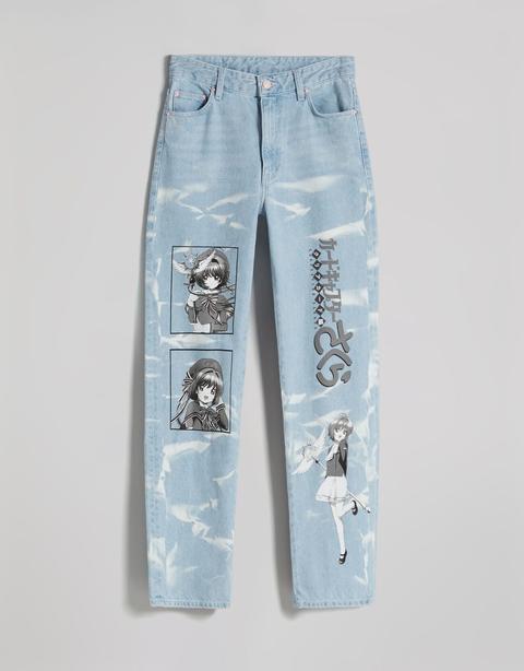Jeans Straight Print Sakura X Bershka