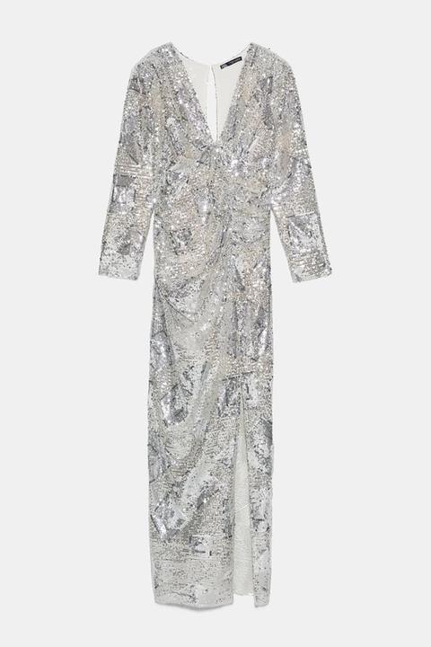 Vestido Largo Lentejuelas de Zara en 21 Buttons