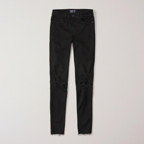 Jeans Superajustados Rasgados De Tiro Bajo de Abercrombie & Fitch en 21 Buttons