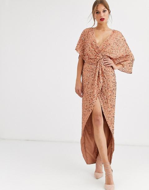 Vestido Largo Estilo Kimono Con Nudo Delantero Y Detalle De Lentejuelas De Asos Design de ASOS en 21 Buttons