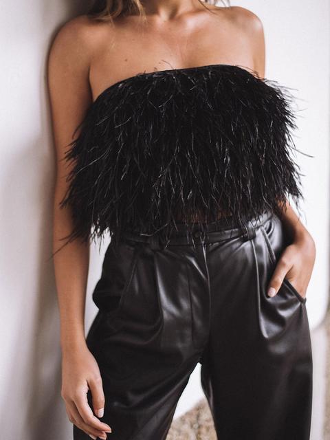 Pantalón Negro Efecto Piel