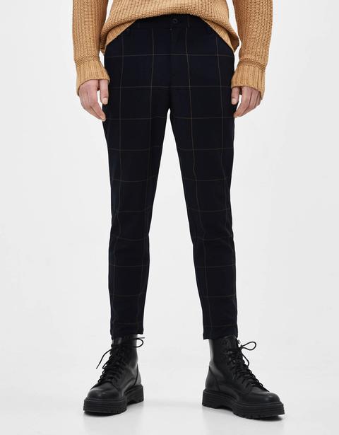 Pantalón Tailoring De Cuadros de Bershka en 21 Buttons