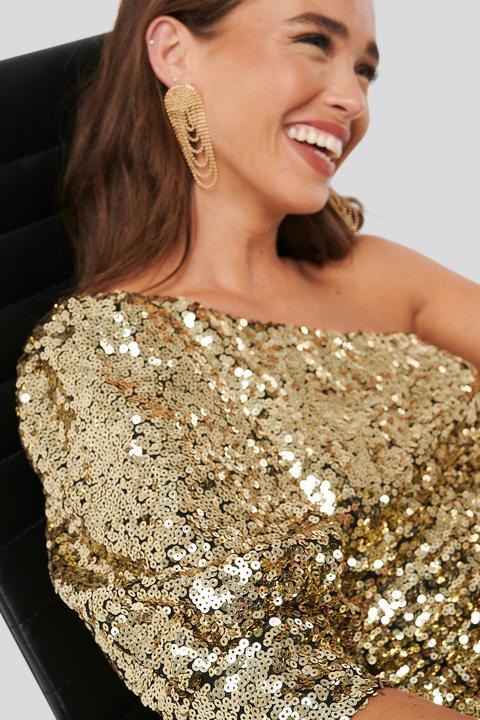 One Shoulder Puff Sleeve Sequin Dress