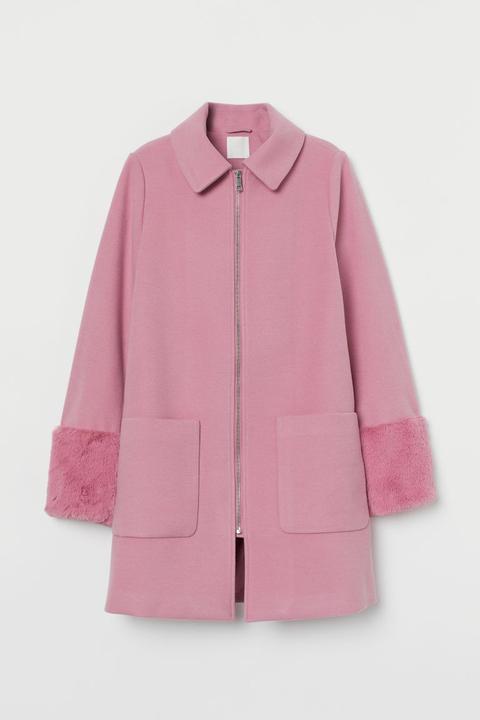 Abrigo Con Pelo Sintético - Rosa de H&M en 21 Buttons