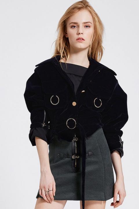 Sharon O Ring Pocket Velvet Jacket