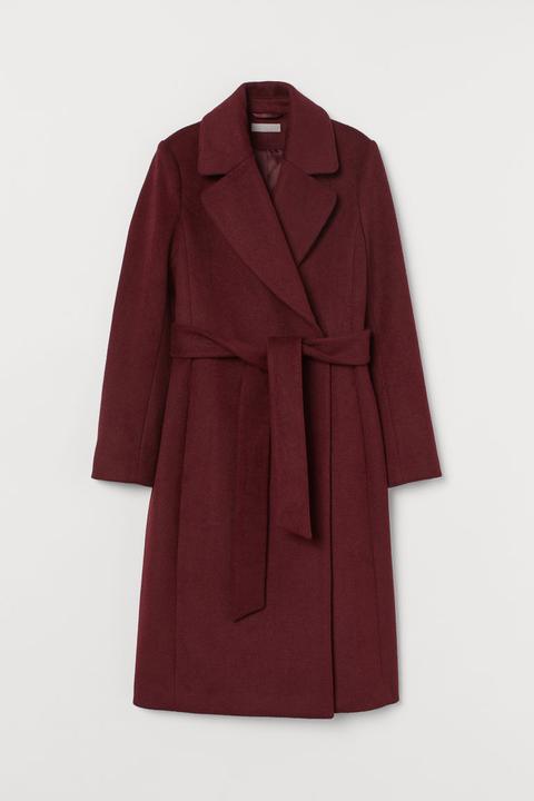 Abrigo En Mezcla De Lana - Rojo de H&M en 21 Buttons