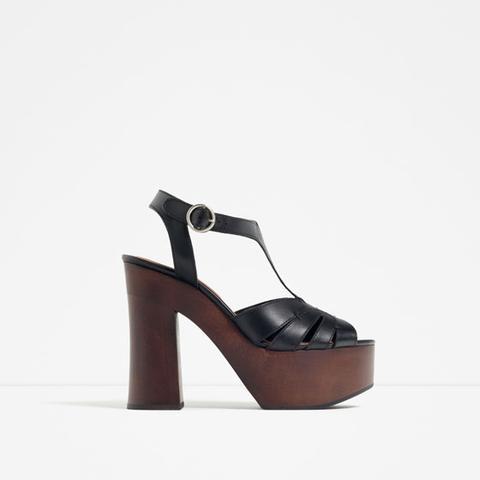 Sandalia Plana Piel de Zara en 21 Buttons