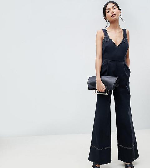 Asos Design Tall - Combinaison En Sergé À Jambe Large Et Lien À Nouer - Noir