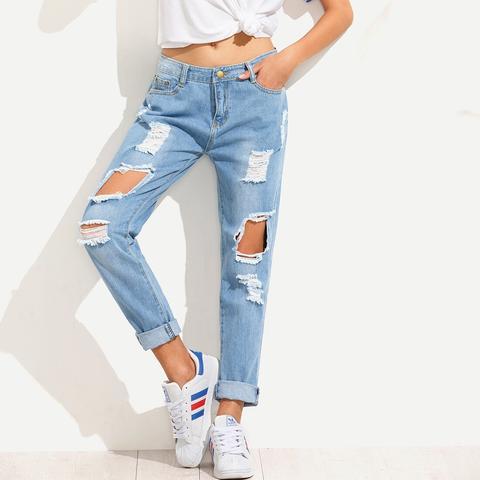Jeans Fidanzato Strappati - Blu