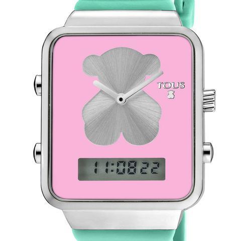 Reloj Digital I-bear De Acero Con Correa De Silicona Verde