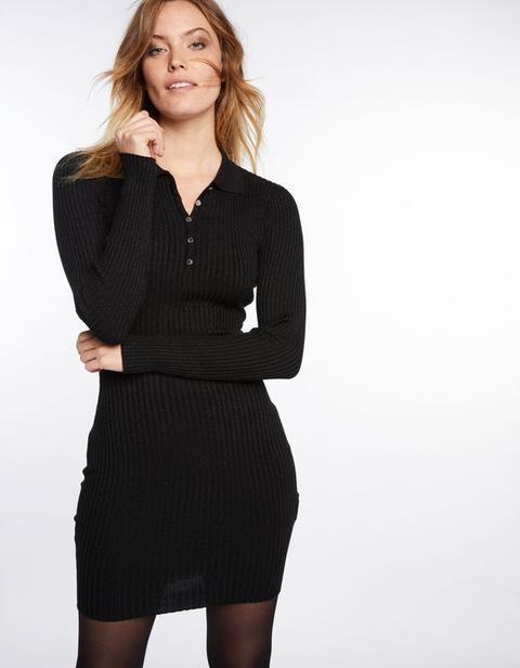 Vestido Ajustado De Punto Acanalado Negro Mujer