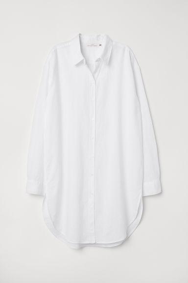 H & M - Chemise Longue En Lin Mélangé - Blanc