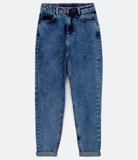 Calça Mom Em Jeans Básica Azul