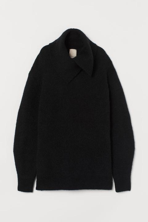 Jersey En Mezcla De Lana - Negro de H&M en 21 Buttons