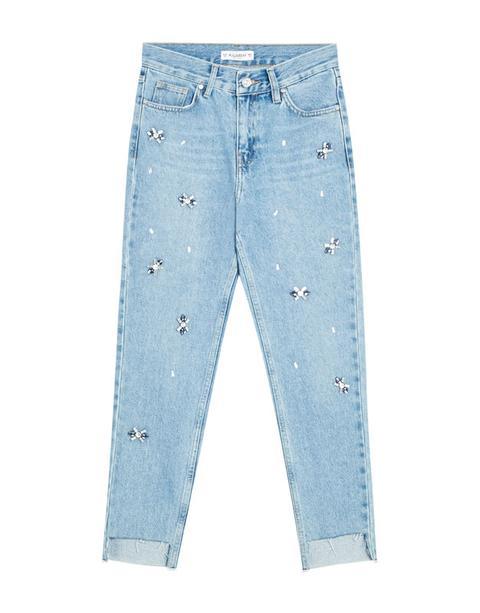 Jeans Mom Fit Con Detalles Fantasía