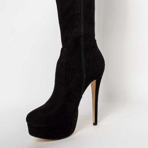 Shannon Black Suede Platform Thigh High Boots