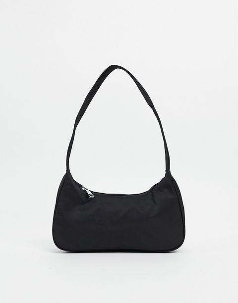 Bolso De Hombro Negro Semicircular De Estilo Años 90 De Nylon De Asos Design