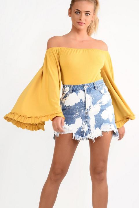 **bardot Bell Sleeve Bodysuit By Glamorous