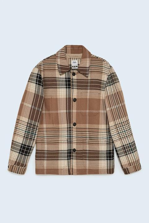 Sobrecamisa Estructura Cuadros de Zara en 21 Buttons