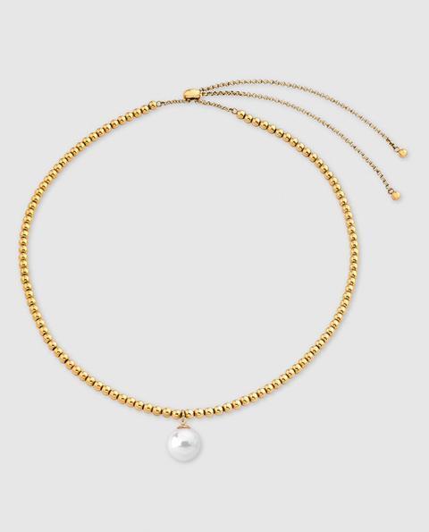 Majorica - Collar Atlas De Acero Dorado Con Perla Blanca de El Corte Ingles en 21 Buttons