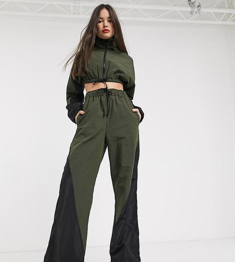 Collusion Nylon Wide Leg Track Pants-green